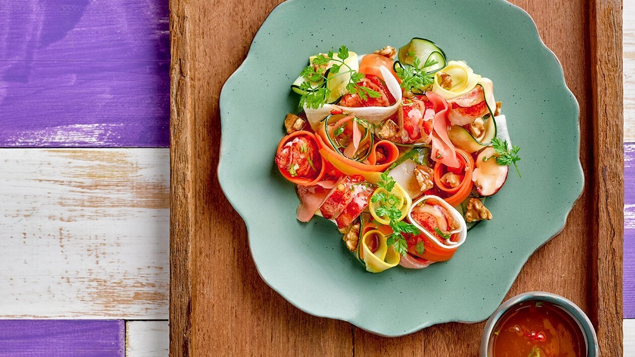"""Lobster and Vegetables """"Fettuccini"""" Salad with Fruity Tamarind Dressing"""