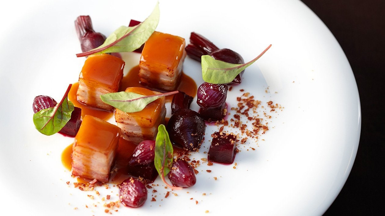 Pork Belly with Beetroot and Honey Raspberry Sauce