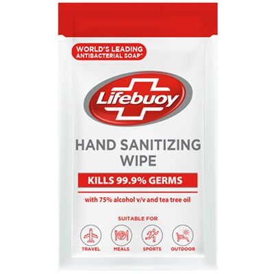 Lifebuoy Hand Sanitizing Wipes 20pc - With LifeBuoy Hand Sanitizing Wipes, germs are killed on surfaces and skin